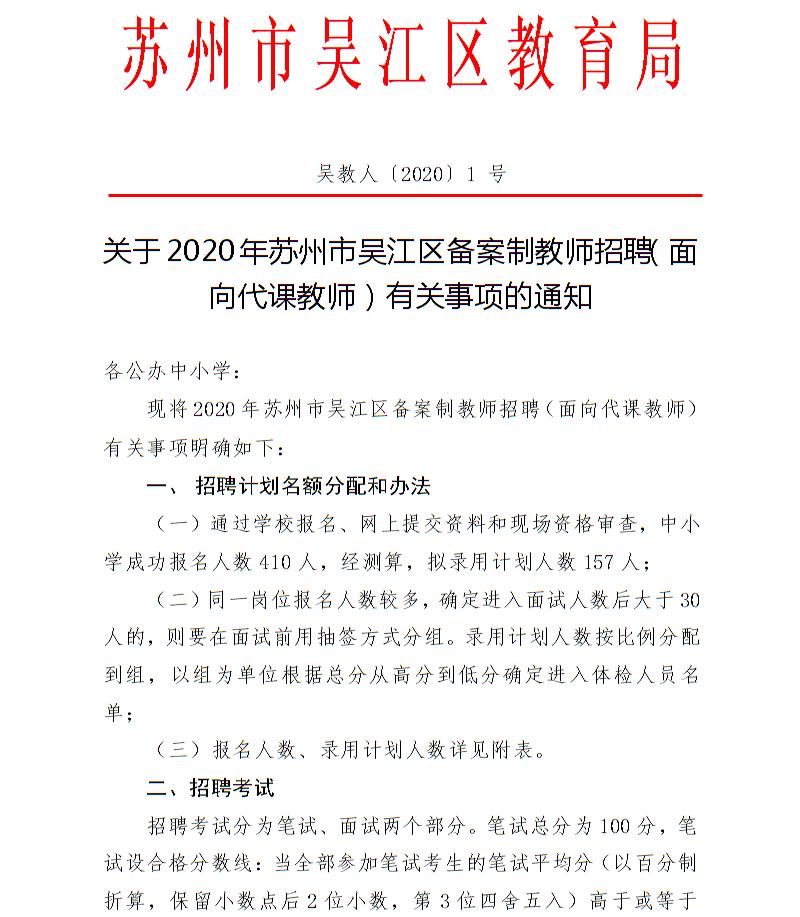2020年江苏苏州市吴江区备案制教师招聘考试相关公告(图1)